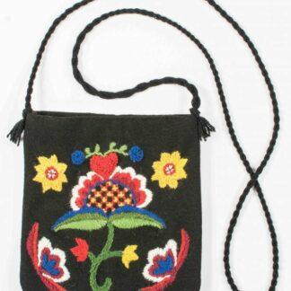 yllebroderi väska blomma med hjärta